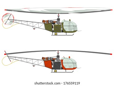 Silhouette of a retro helicopter on a white background. Vector