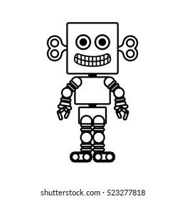 silhouette retro robot toy flat icon