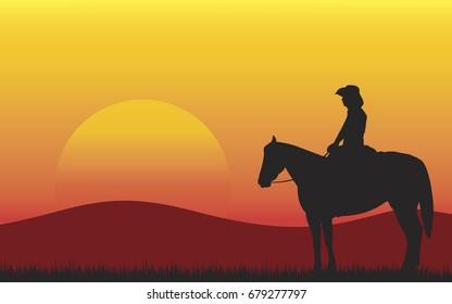 Silhouette of retro wild west cowboy on horse in desert. sunset in prairie, illustration,vector
