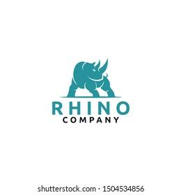 Silhouette of Rhino logo design inspiration - vector