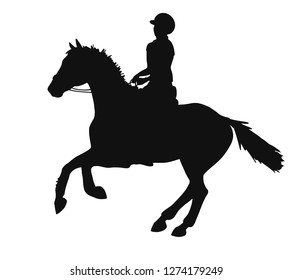Silhouette of a rider and horse is cantering. Vector sketch.