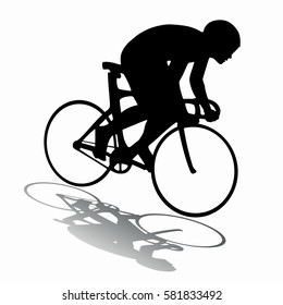 silhouette of a rider on bike, black and white drawing, white background