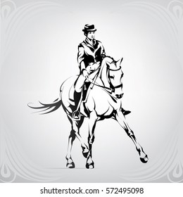 Silhouette of a rider on a horse in dressage