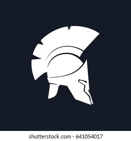 Silhouette Roman Helmet, Antiques Greek Helmet for Head Protection Legionnaire with a Crest of Feathers or Horsehair , Black and White Vector Illustration
