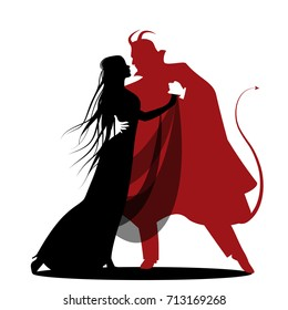 Silhouette of romantic devil dancing with a lady. Halloween dance. Isolated