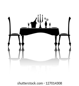 Silhouette of a romantic table setting for two. Black and white with reflection and space for your text. EPS10 vector format