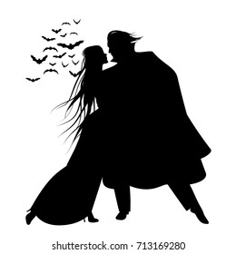 Silhouette of romantic and victorian couple dancing. Cloud of bats on the background. Isolated.