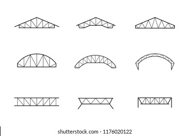 Silhouette of roofing steel frame, set of truss icon vector illustration