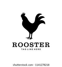 The silhouette of a rooster who looked stoutly looking forward eagerly.