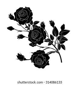 Silhouette  Rose ,Flower design,