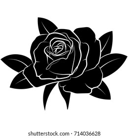 Silhouette of a rose with leaves on a white background.Rose tattoo.