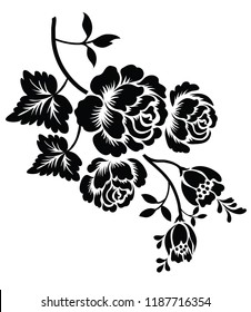 Silhouette of rose on a white background