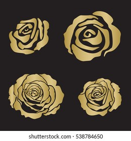 Silhouette rose opened flowers, hand drawn vector, gold color on black background