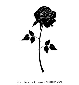 Silhouette of a rose in a pattern on a white background