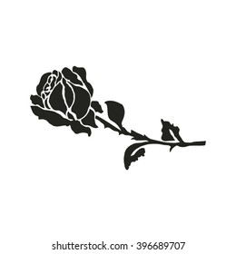 silhouette of rose. Vector illustration.