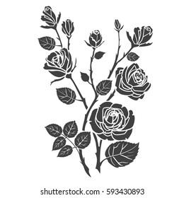 Silhouette roses and leaves. Flowers tattoo vector illustration.
