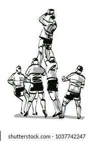 silhouette rugby team