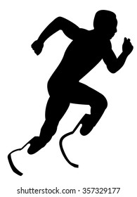 Silhouette of the runner of the artificial leg