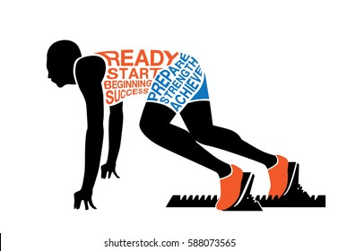 Silhouette runner in ready posture to sprint out for start with sitting on ground.