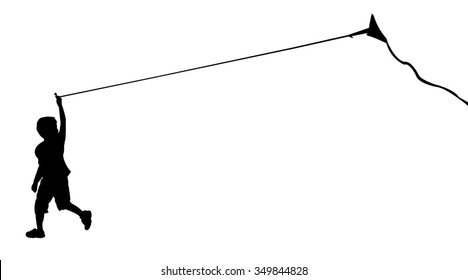 silhouette of running boy with flying kite. Vector illustration