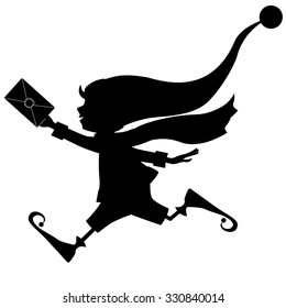 silhouette of running Christmas elf with letter