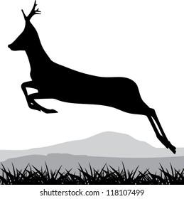 Silhouette of a running deer. Vector