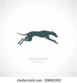 Silhouette of running dog whippet breed