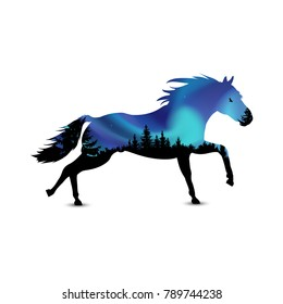 Silhouette of running horse with coniferous trees on the background of colorful sky.  Aurora.