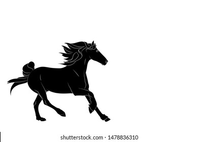 Silhouette of the running horse. Graphic drawing. Vector.