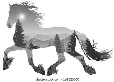 silhouette of a running horse. inside the mountain landscape with pine forest, black and white