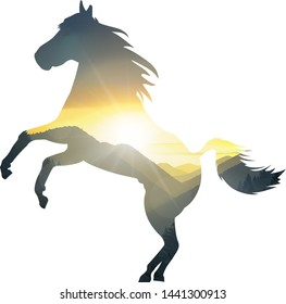 Silhouette of running horse with mountains panorama.