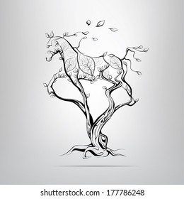 Silhouette of a running horse in a tree. vector illustration
