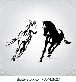 Silhouette of the running horses