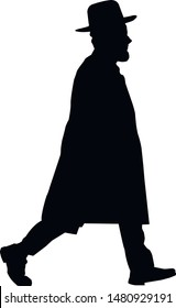Silhouette of a running Jewish man in a hat. Jew in a traditional costume. Hasid with sidelocks in a long frock coat and hat. Isolated vector illustration. Black on white.