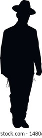 Silhouette of a running Jewish religious man in a hat. Religious Jews in a traditional costume. Hasid with sidelocks in a long frock coat. Isolated vector illustration. Black on white.