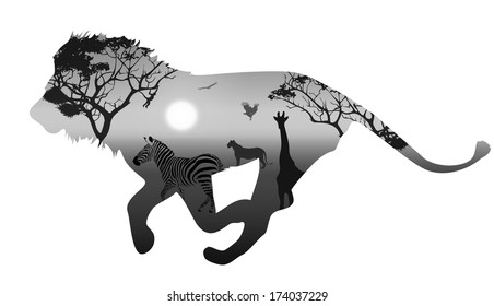 silhouette running lion. inside savannah landscape with silhouettes of animals and trees at sunset. black and white. white background