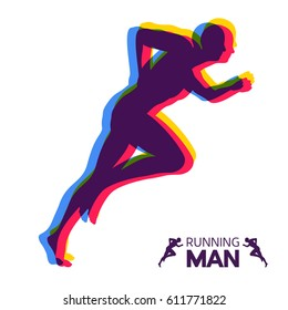 Silhouette of a running man. Design for Sport. Emblem for marathon and jogging. Vector Illustration.