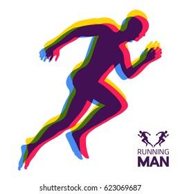 Silhouette of a running man. Design for Sport. Emblem for marathon and jogging. Vector Illustration.