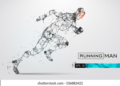 Silhouette of a running man. Dots, lines, triangles, text, color effects and background on a separate layers, color can be changed in one click.