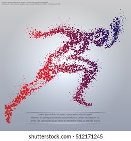 silhouette of a running man particle composition