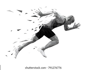 silhouette running man sprinter explosive start. polygonal particles