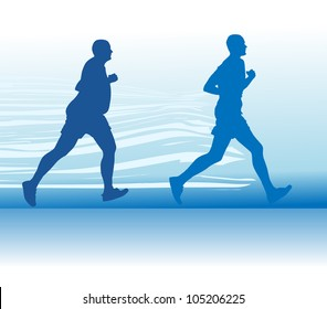 Silhouette of the running person at first full in the end of the thin