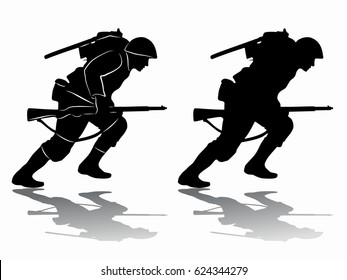 silhouette of a running soldier, black and white drawing, white background