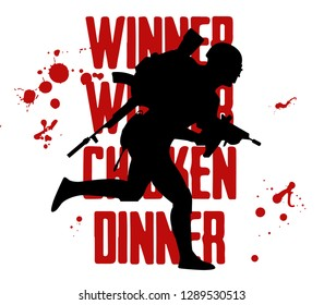 Silhouette of a running soldier, man in uniform. Vector illustration logo and text Winner winner chicken dinner. Battle royal concept