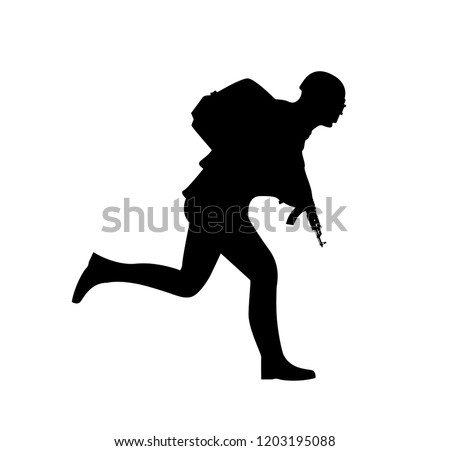 Silhouette Running Soldier Pubg Player Uniform Stock Vector Royalty