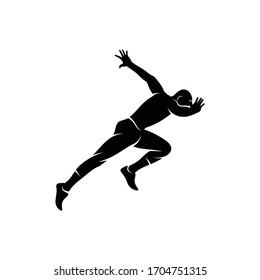 Silhouette running vector illustration design, creative design, simple