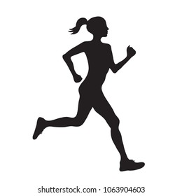 silhouette of running woman profilec simple black icon, vector eps10 illustration