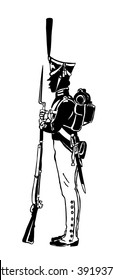 Silhouette of a Russian guard with a gun