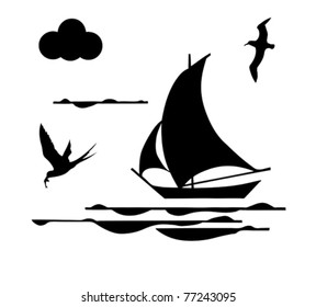 silhouette sailfish on white background