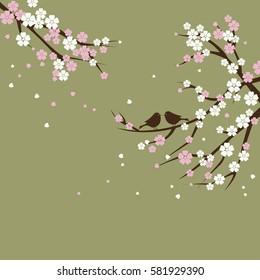 Silhouette sakura tree branches with bird.